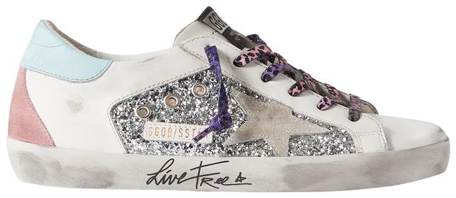 Golden Goose Deluxe Brand Silver Superstar Distressed Glittered Leather and Suede Sneakers Size EU 36 (Approx. US 6) Regular (M, B) Golden Goose Deluxe Brand Silver Superstar Distressed Glittered Leather and Suede Sneakers Size EU 36 (Approx. US 6) Regular (M, B) Image 1
