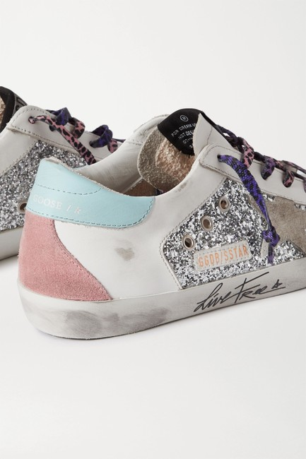 Golden Goose Deluxe Brand Silver Superstar Distressed Glittered Leather and Suede Sneakers Size EU 36 (Approx. US 6) Regular (M, B) Golden Goose Deluxe Brand Silver Superstar Distressed Glittered Leather and Suede Sneakers Size EU 36 (Approx. US 6) Regular (M, B) Image 3