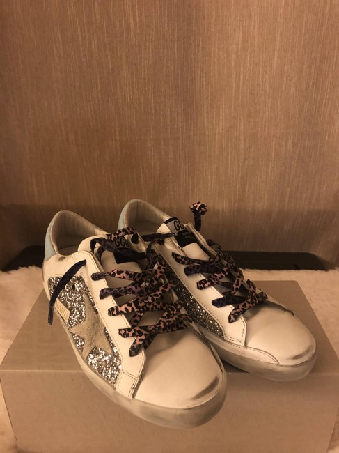 Golden Goose Deluxe Brand Silver Superstar Distressed Glittered Leather and Suede Sneakers Size EU 36 (Approx. US 6) Regular (M, B) Golden Goose Deluxe Brand Silver Superstar Distressed Glittered Leather and Suede Sneakers Size EU 36 (Approx. US 6) Regular (M, B) Image 5