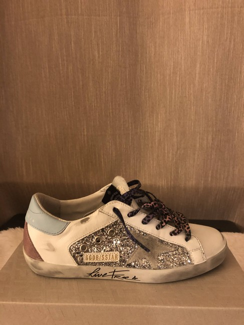 Golden Goose Deluxe Brand Silver Superstar Distressed Glittered Leather and Suede Sneakers Size EU 36 (Approx. US 6) Regular (M, B) Golden Goose Deluxe Brand Silver Superstar Distressed Glittered Leather and Suede Sneakers Size EU 36 (Approx. US 6) Regular (M, B) Image 9