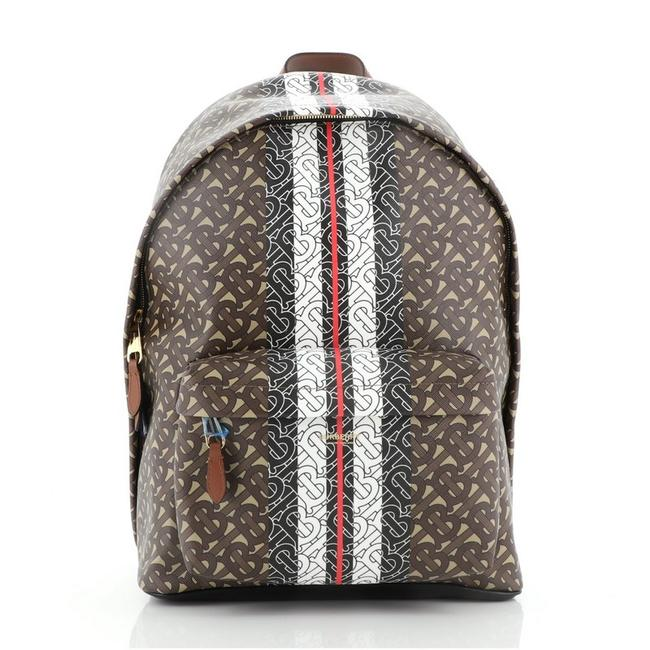 Item - Tb Zip Pocket Monogram Brown Canvas Coated Backpack