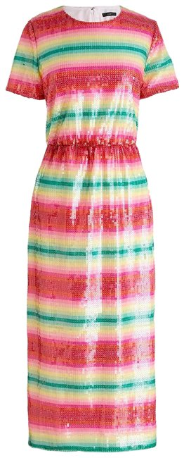 Item - Pink Green Red White Sequin Stripe Party Mid-length Cocktail Dress Size 4 (S)
