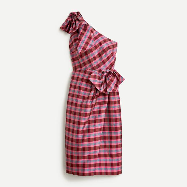 Item - Fuchsia Ocho Silk Pink Plaid One Shoulder Bow Party Mid-length Cocktail Dress Size 6 (S)