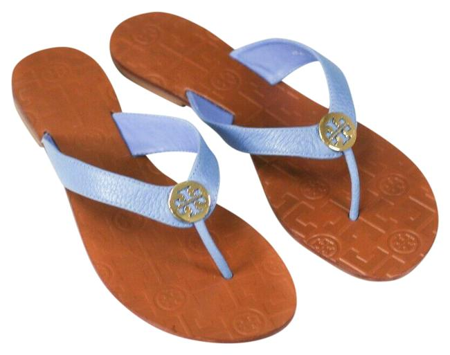 Item - Brown/Blue Thora Flat Tumbled Leather Chambray Filp Flop 43089 Sandals Size US 8 Regular (M, B)