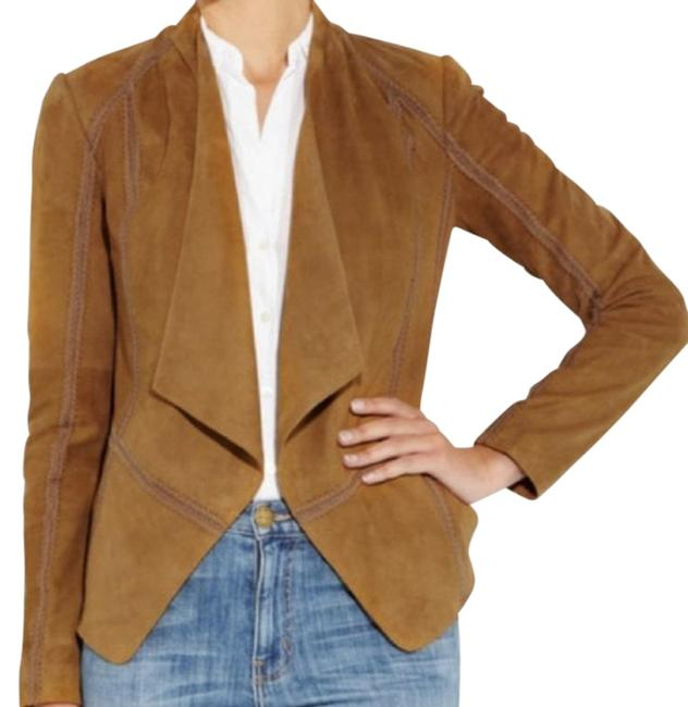 Item - Tan Draped Suede Tobacco Embroidered Jacket Size 4 (S)