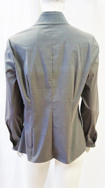 Akris New Blue Plane Graphic Long Sleeve Blouse Shirt 10 M Button Down Shirt Gray