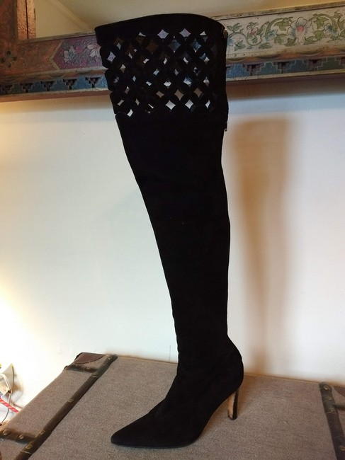 Item - Black Suede Laser Cut Over The Knee Boots/Booties Size US 9 Regular (M, B)