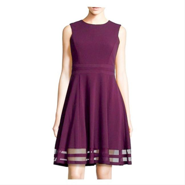Item - Burgundy Illusion Fit & Flare Mid-length Work/Office Dress Size 10 (M)