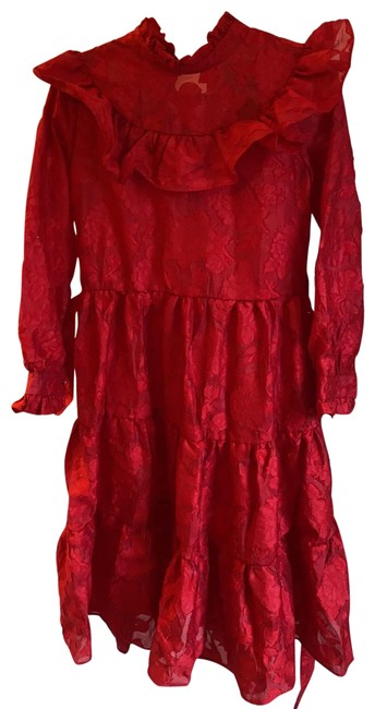 Item - Red Organza Mid-length Cocktail Dress Size 6 (S)