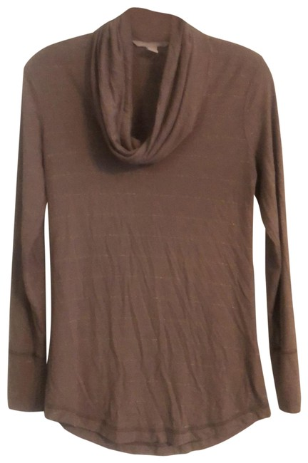Item - Brown Gold Thread Cowl Neck Tunic Size 2 (XS)