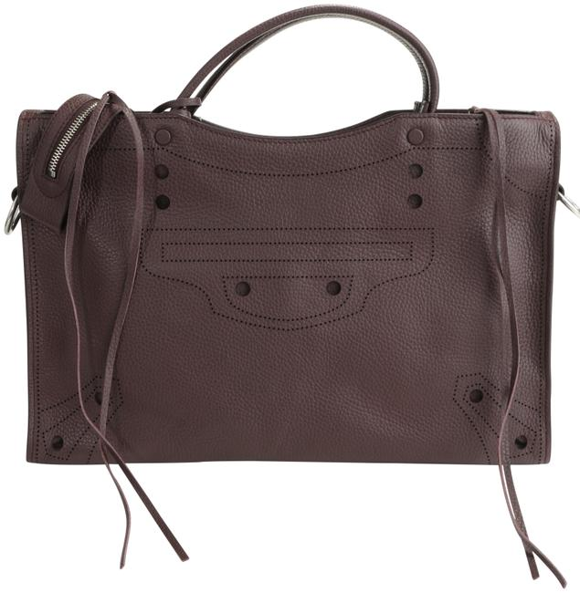 Item - Perforated Blackout City Purple Calfskin Leather Tote
