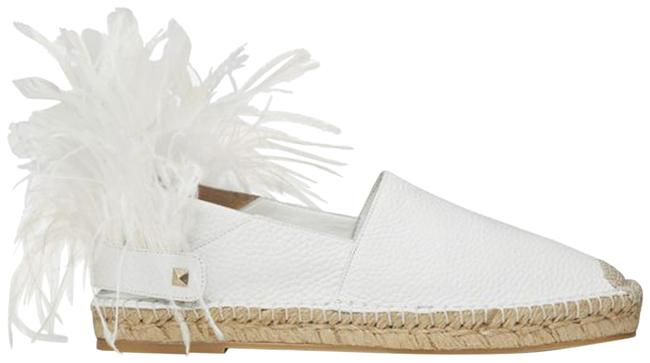 Item - White Grained Leather Feather Strap Espadrille Flats Size EU 39 (Approx. US 9) Regular (M, B)