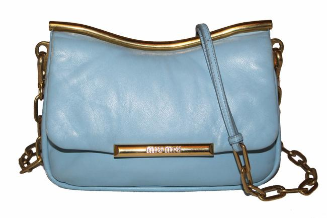 Miu Miu Frame Blue Lambskin Leather Cross Body Bag Miu Miu Frame Blue Lambskin Leather Cross Body Bag Image 1
