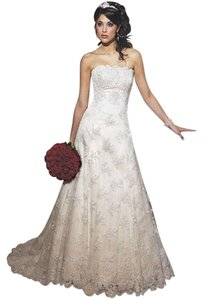 Maggie Sottero Ivory Lace and Pearls Formal Wedding Dress Size 12 (L)