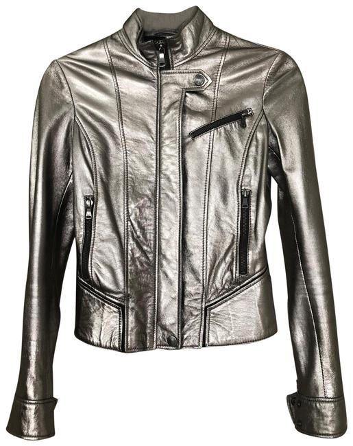 Item - Pewter/Metallic Gray Biker Jacket Size 2 (XS)