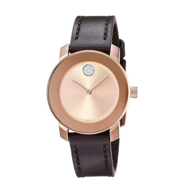 Item - Rose Gold Brown Leather Strap Crystal Dot Womens 3600438 Watch