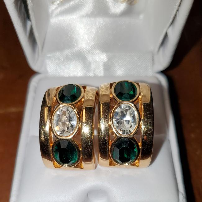Item - Gold and Green Crystal Crystal Earrings