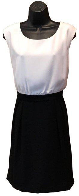 Item - White And Black Colorblock Sheath Work/Office Dress Size 10 (M)