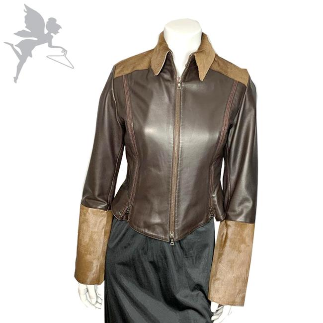 Item - Brown and Tan Cowhair Moto Jacket Size 4 (S)
