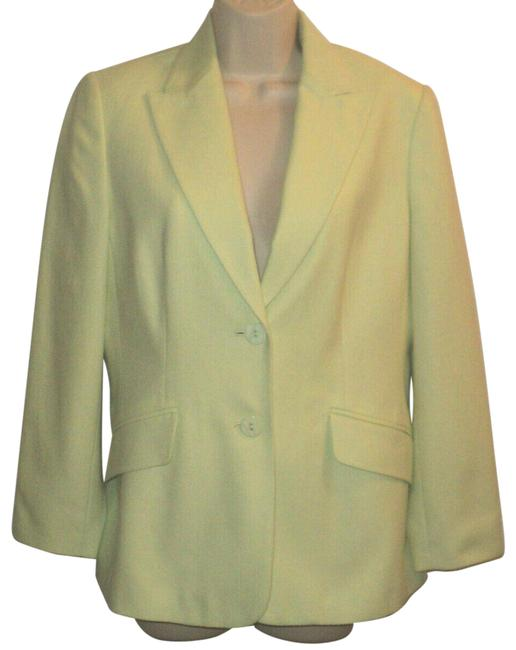 Item - Light Green Classic Buttoned Cotton/Silk Blend Lined Notched Collar Blazer Size Petite 6 (S)