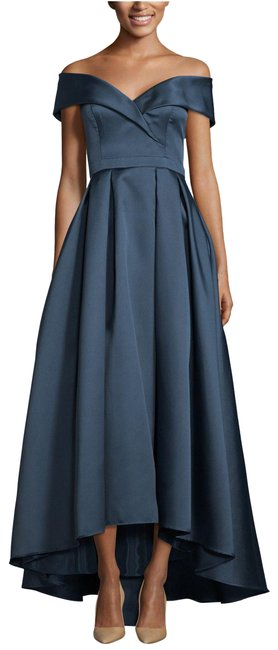Item - Navy Off The Shoulder Satin Ball Gown Long Formal Dress Size 6 (S)
