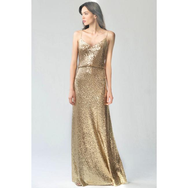 Item - Gold Sequin Jules Gown V-neck Modern Bridesmaid/Mob Dress Size 4 (S)