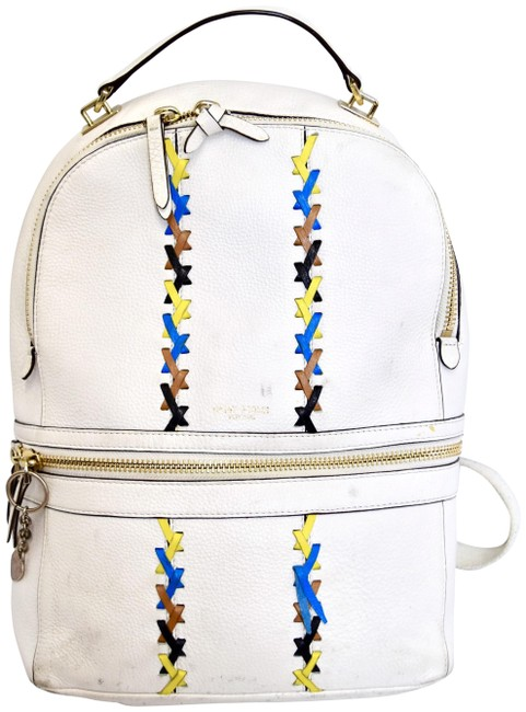 Item - Stitched White Leather Backpack