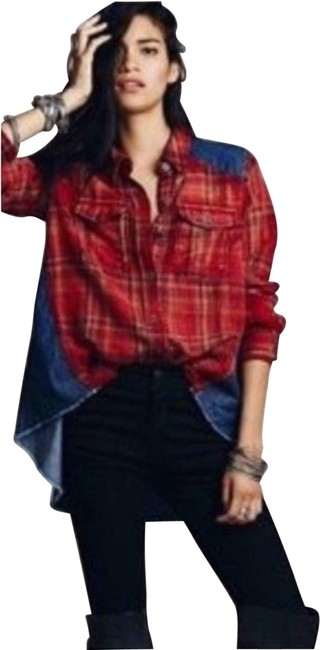 Item - Blue Road Trip Distressed Flannel & Chambray Shirt Button-down Top Size 2 (XS)