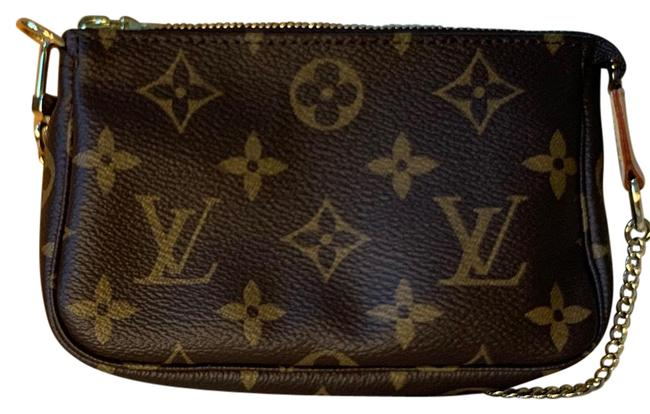 Item - Pochette Accessoires Mini Brown Canvas with Cream Vechetta and Gold Hardware Coated Wristlet