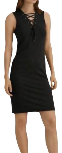 Item - Black Lace-up Ponte Mid-length Short Casual Dress Size OS