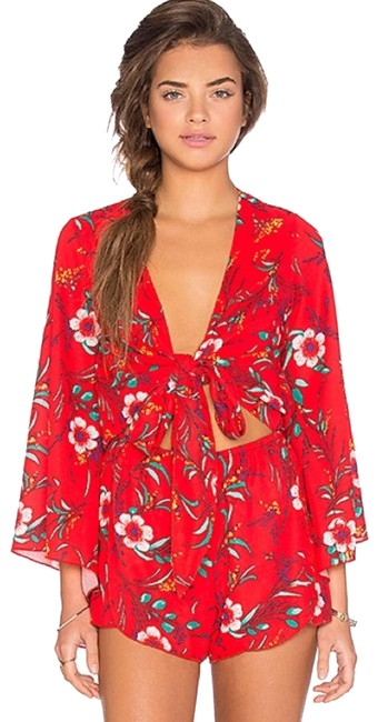 Item - Red XS Anthropologie Hermosa Bell Sleeve Romper/Jumpsuit
