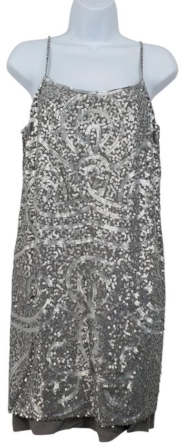 Item - Gray Silver Sequin Sheath Cocktail Dress Size 8 (M)