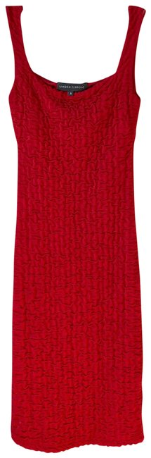Item - Red Stretch Mid-length Cocktail Dress Size 0 (XS)