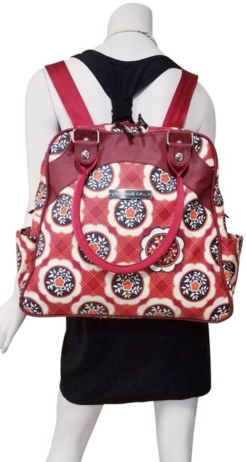 Item - Backpack Floral Hand *used Condition Red Man Made Diaper Bag