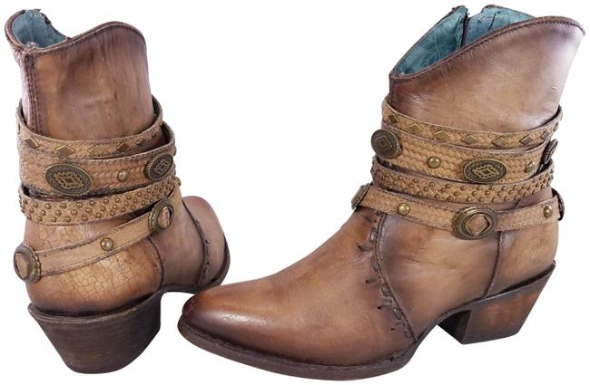 Item - Brown Studded Metal Distressed Leather Zipper Western Woman Boots/Booties Size US 8 Regular (M, B)