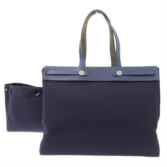 Item - Ale Kabas Gm Leather Navy Canvas Tote