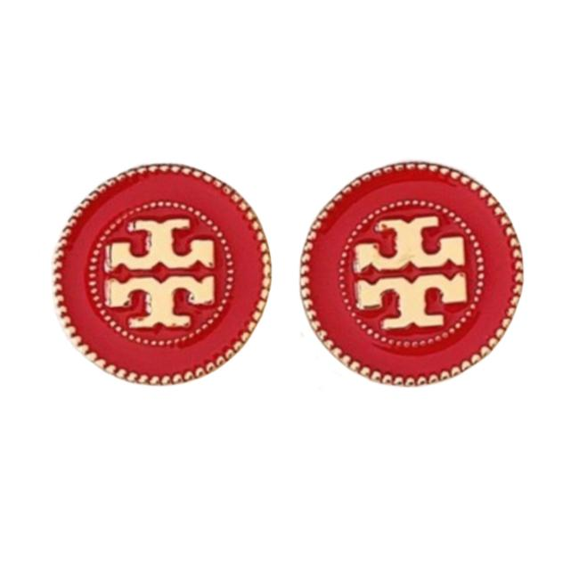 Item - Red/Gold Stud • Double Circle Logo Earrings