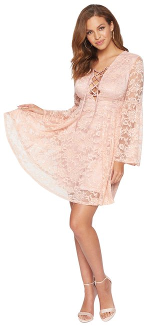 Item - Pink Lace Fit Flare Lace Up Plunge Neck Bell Sleeves Floral Short Cocktail Dress Size 4 (S)