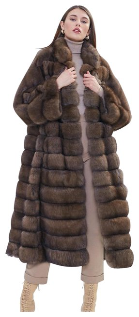 Item - Brown Sectioned Genuine Sable Coat Size 12 (L)