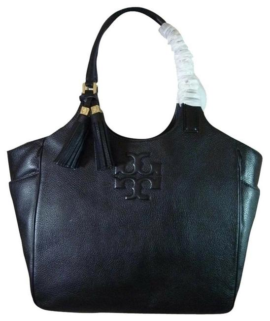 Item - Thea Round Black Leather Tote