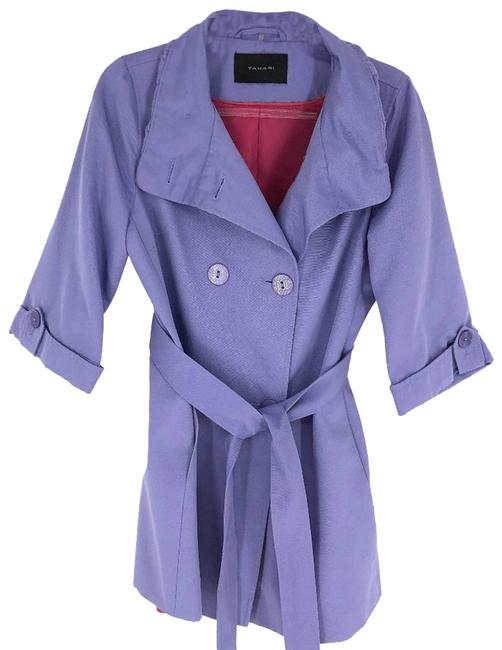 Item - Purple Lilac Doublebreasted 3/4 Sleeve Belted Coat Jacket Size 8 (M)