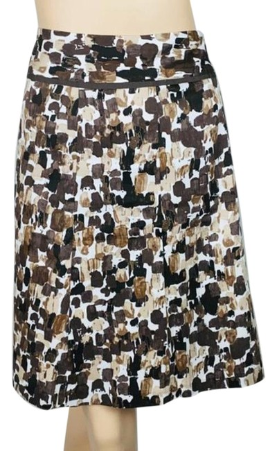 Item - Brown Tan Line Abstract Print Skirt Size 8 (M, 29, 30)