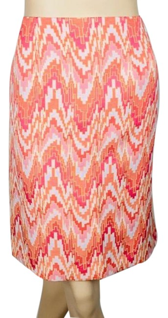 Item - Pink Orange Puzzle Abstract Print Pencil Skirt Size 8 (M, 29, 30)