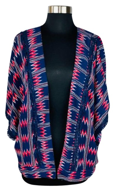 Item - Blue Red White Embroidered Detailed Open Front Cardigan Size 12 (L)