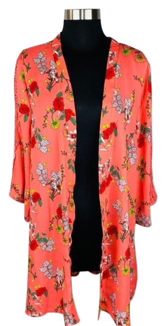 Item - Orange Front Floral Cardigan Size OS (one size)