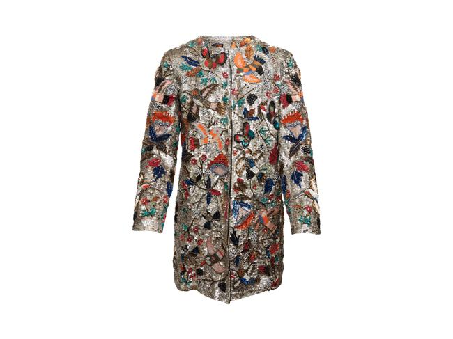 Item - Silver & Multicolor Sequined Bird Motif Coat Size 4 (S)