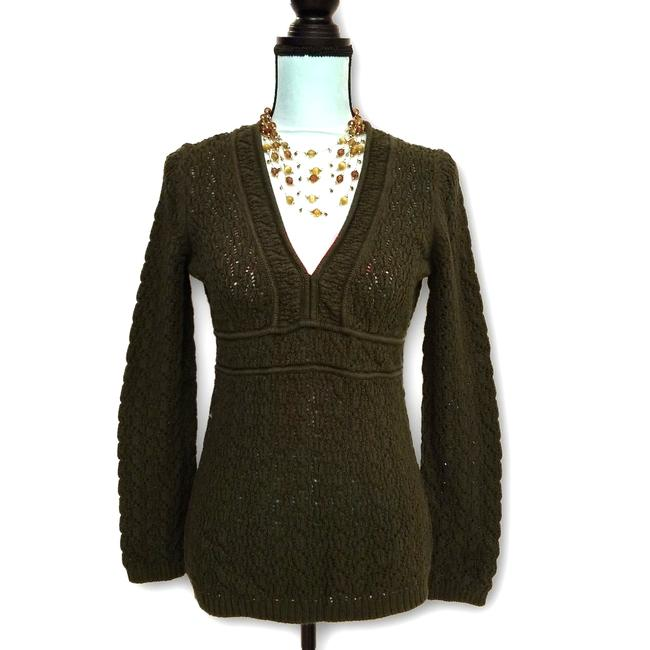 Ann Taylor LOFT Knitted V Neckline Army M Green Sweater Ann Taylor LOFT Knitted V Neckline Army M Green Sweater Image 1