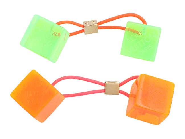 Item - Orange And Green Fluo Cubes Set Hair Accessory