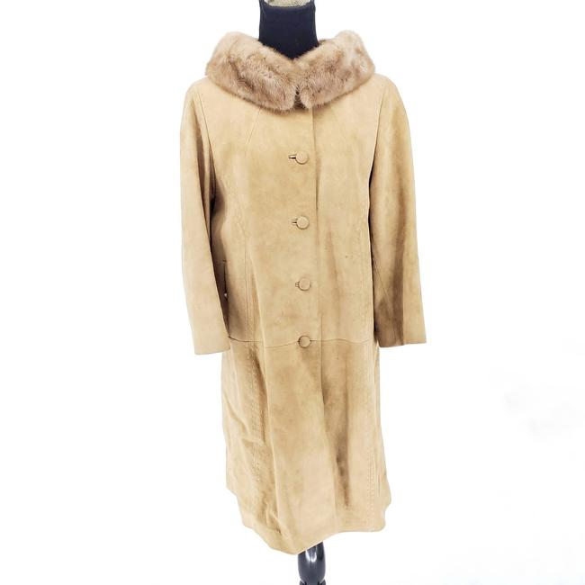 Item - Tan 1950s Beged-or Suede and Mink Fur Trim Beige Large Coat Size 14 (L)