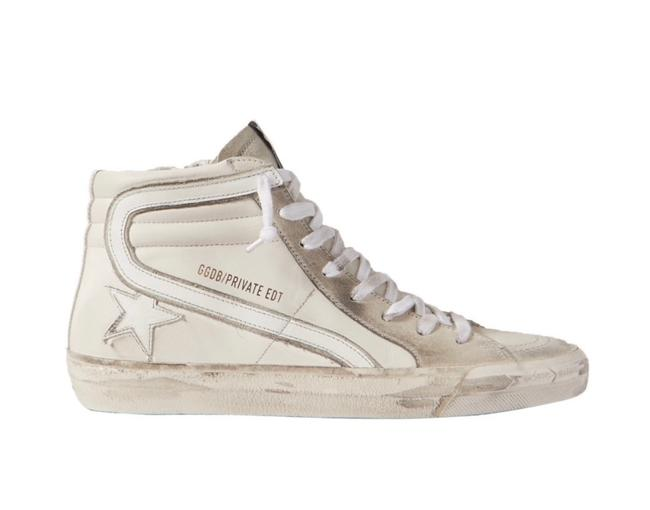 Item - Cream Slide Distressed Leather and Suede High-top Sneakers Size EU 38 (Approx. US 8) Regular (M, B)
